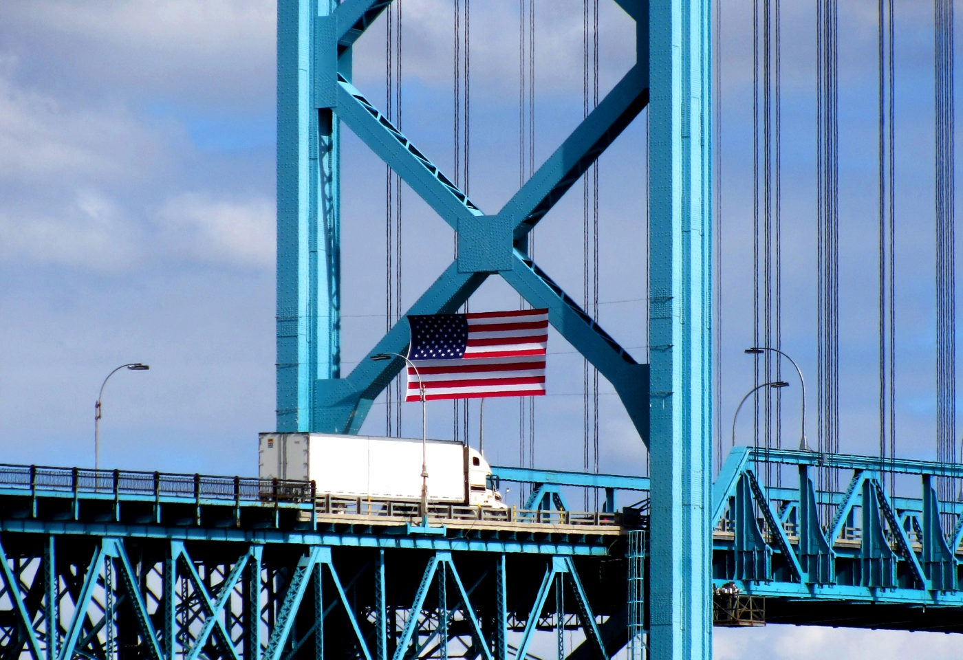 Transport truck crossing the Ambassador Bridge between Detroit, Michigan, United States, and Windsor, Ontario, Canada