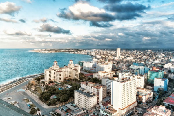Aerial view of Malecon, Havana, Cuba
