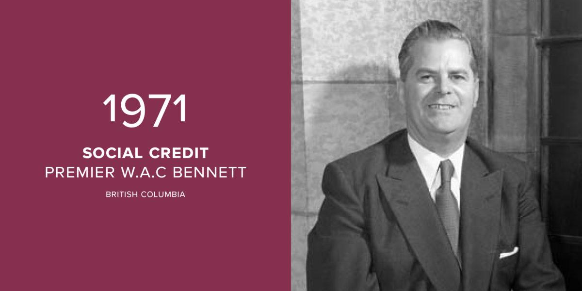 1971: W.A.C Bennett's Social Credits